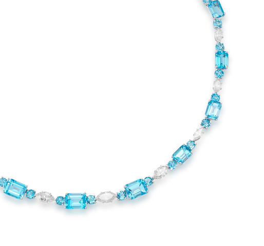 A Topaz and Diamond Necklace