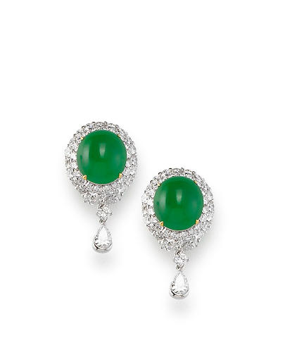 A Pair of Jadeite and Diamond Pendent Earrings