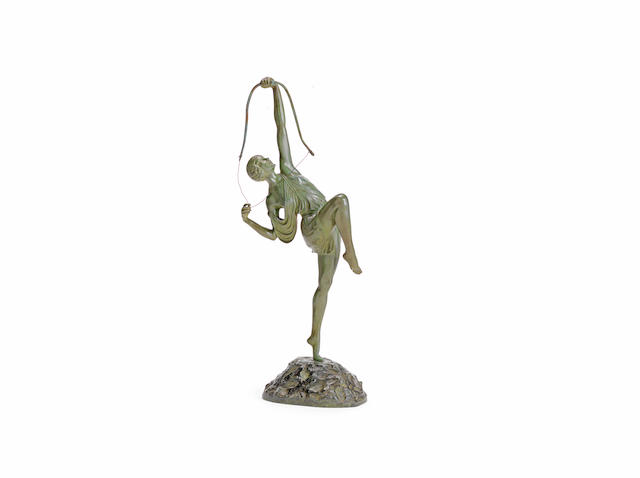 'diana' a large art deco green-patinated bronze study by by Pierre le Faguays SIGNED IN CAST; CIRCA 1925