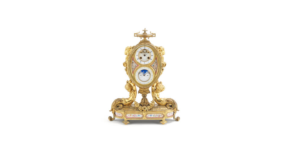 A 19TH CENTURY FRENCH GILT BRONZE AND PORCELAIN MOUNTED PERPETUAL CALENDAR MANTEL CLOCK