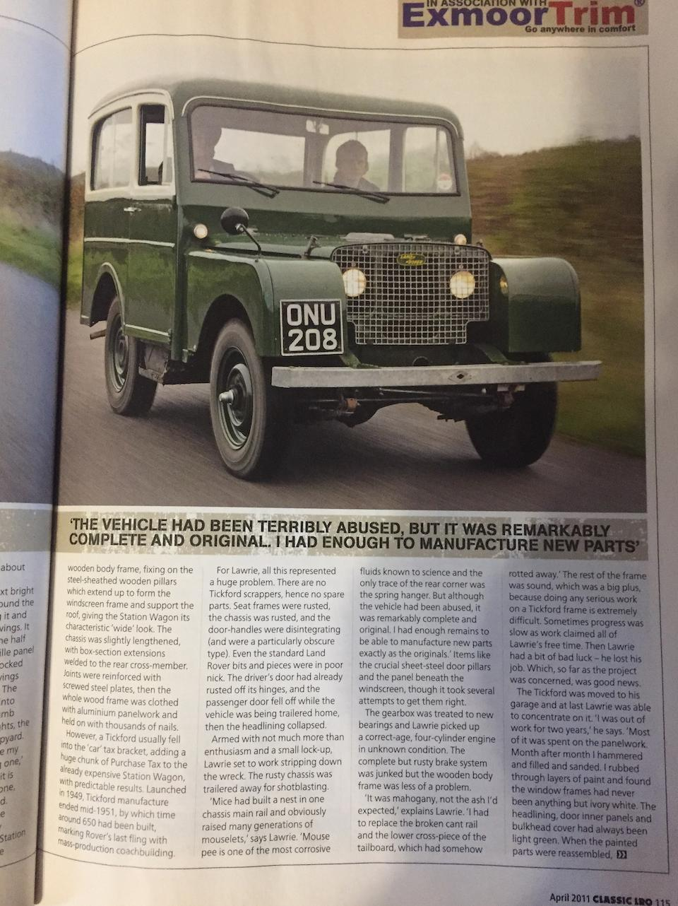 1949 Land Rover  4x4 Station Wagon  Chassis no. R06200012