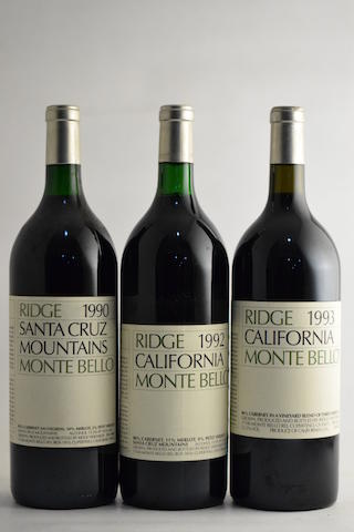 Ridge Monte Bello 1990 (1 magnum) Ridge Monte Bello 1991 (1 magnum) Ridge Monte Bello 1992 (1 magnum) Ridge Monte Bello 1993, Santa Cruz Mountains (1 magnum)