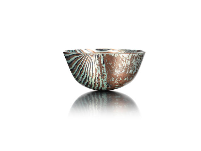 ALISTAIR McCALLUM: A Mokume Gane bowl stamped with makers punch to the underside, 2009