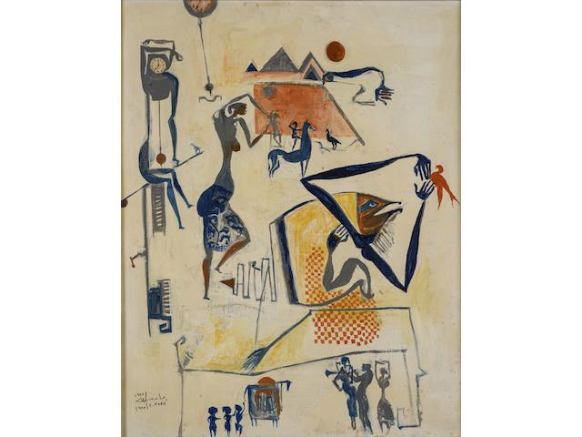 Hamed Nada (Egypt, 1924-1990) The Dancer and the Pyramid