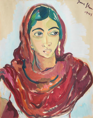 Irma Stern (South African, 1894-1966) Portrait of an Indian woman