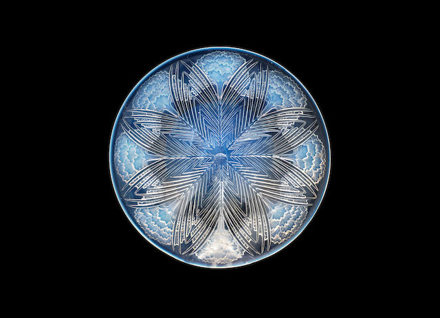 A RENÉ LALIQUE FROSTED, POLISHED AND OPALESCENT GLASS 'OEILLETS' DISH ACID STAMPED 'R.LALIQUE FRANCE'; PRE 1945