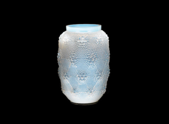 A RENÉ LALIQUE OPALESCENT AND POLISHED GLASS 'DAVOS' VASE ACID STAMPED 'R.LALIQUE FRANCE'; PRE 1945