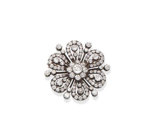 A diamond flower brooch/pendant, circa 1890