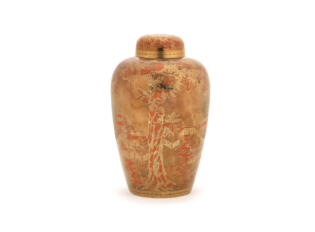 A Daisy Makeig-Jones Fairyland Lustre 'Coral and Bronze' Malfrey Vase and Cover in the 'Willow' Pattern PRINTED WEDGWOOD MARK; CIRCA 1925