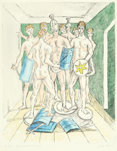 Giorgio de Chirico (Italian, 1888-1978) I gladiatori Lithograph with chine collé and extensive hand-colouring, 1973, on Japon nacré, signed and inscribed 'P.d.A.' and 'colorata a mano' in pencil, an artist's proof aside the numbered edition of 139, printed and published by Alberto Caprini Stampatore, Rome, with the artist's and printer's/publisher's blindstamp, with full margins, 662 x 502mm (26 1/8 x 19 3/4in)(SH)(unframed)