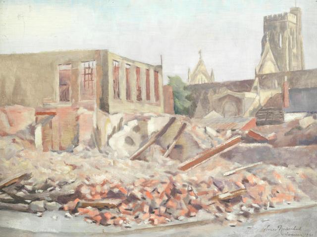 Ernst Neuschul (Austrian, 1895-1968) Bomb damage St Mary's Square, Swansea