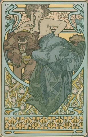 MUCHA, Alphonse WOMAN AND BEAR, Documents Décoratifs pl. 47. 1902