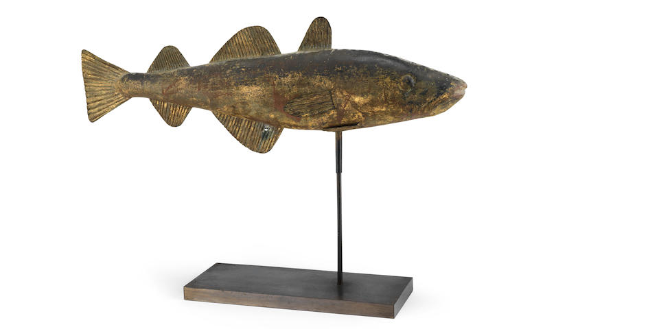 Folk Art: A rare late 19th century sheet copper weather vane, probably of a cod fish, in the manner of W. A. Snow & Co., of 19 Portland Street, Boston, U.S.A.