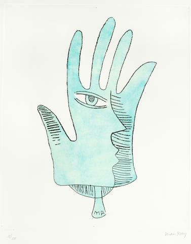 Man Ray (American, 1890-1976) La Maine Bleue; Le Pont Neuf Etching and aquatint printed in colours, 1971, on Arches, signed and numbered 13/100 in pencil, with full margins, 495 x 395mm (19 1/2 x 15 1/2in)(PL); together with 'Le Pont Neuf', lithograph printed in colours, 1970, on Arches, signed and numbered 17/99 in pencil, with full margins, 485 x 625mm (19 1/8 x 24 5/8in)(SH)(unframed)(2)
