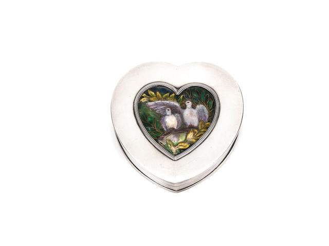 An Arts & Crafts Silver Heart-Shaped Box by Child & Child; with inset enamel by Madeline Wyndham LONDON HALLMARKS; 1899-1900