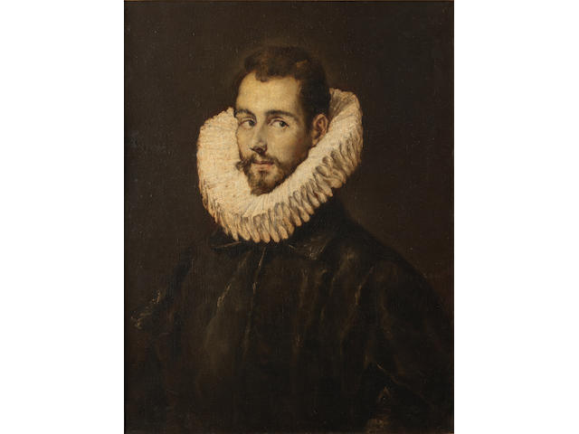 Follower of Domenikos Theotokopoulos, called El Greco (Candia 1541-1614 Toledo) Portrait of a gentleman, bust-length, in black costume