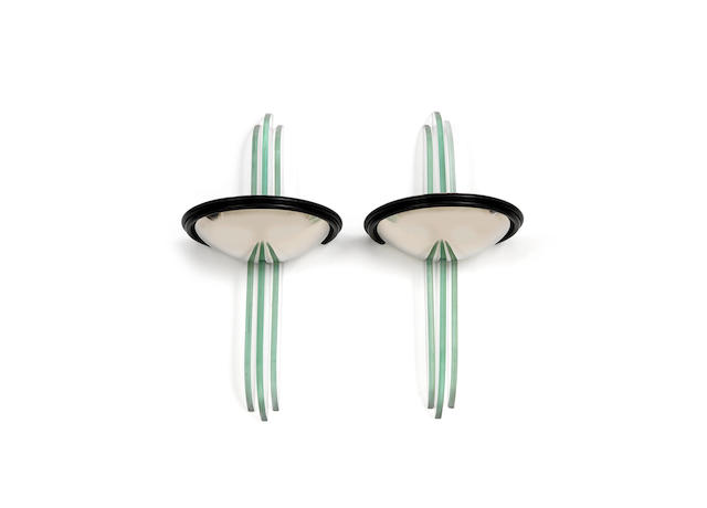 a stylish pair of French Art Deco Modernist glass and chrome Wall Lights UNSIGNED, CIRCA 1925