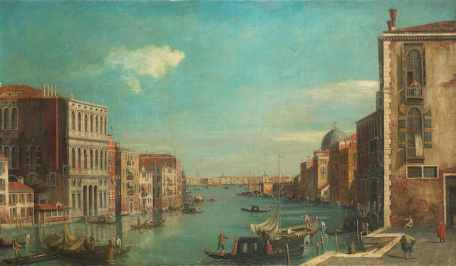 English Follower of Antonio Canal, called il Canaletto, 19th Century View of the Grand Canal, Venice from the Campo San Vio