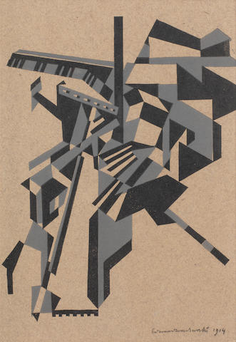 Edward Wadsworth (British, 1889-1949) Mytholmroyd The rare woodcut printed in black and grey, circa 1914, on brown wove paper, signed and dated in pencil, some staining in the margins, otherwise in good conditionBlock 215 x 175mm; Sheet 324 x 225mm.