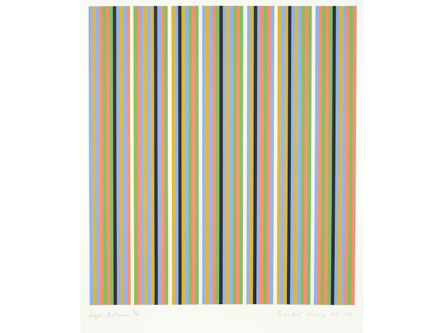 Bridget Riley (British, born 1931) Light Between Screenprint in colours, 1982-2004, on wove, signed, titled, dated and numbered 9/75 in pencil, printed by Sally Gimson, published by Artisan Editions Hove, with full margins, 763 x 610mm (30 x 24in)(SH)(unframed)
