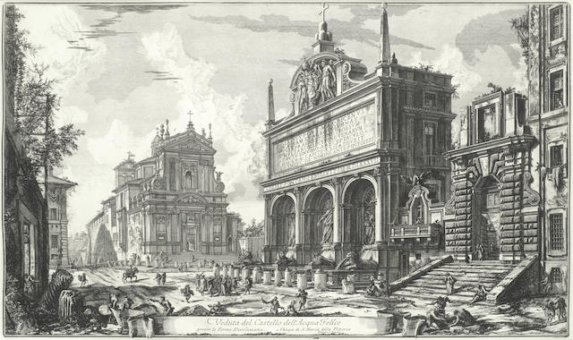 Giovanni Battista Piranesi (Italian, 1720-1778) Five Plates from Vedute di Roma  Very good impressions from the First Paris Edition of 1800-1807, all on thick laid with the central fold, H.6 with a Bracciano watermark (H6), the full sheets, each approximately 570 x 800mm (22 1/2 x 31 1/2in)(SH)(5)