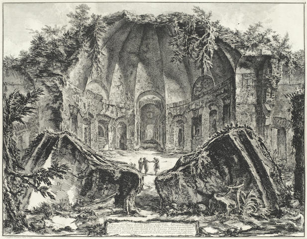 "Giovanni Battista Piranesi (Italian, 1720-1778) Three Plates from Vedute di Roma  Very good impressions from The First Paris Edition of 1800-1807, together with two plates from the series ""Vasi, Candelabri, Cippi, Sarcofagi"": 'Marble candelabrum' and 'Three Vases', all on thick laid with the central fold, the full sheets, each approximately 570 x 800mm (22 1/2 x 31 1/2in)(SH)(5)"