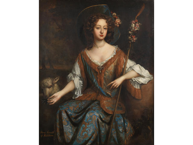 Studio of Willem Wissing (Amsterdam 1656-1687 Burghley) Portrait of Elizabeth Jones, Countess of Kildare, as a shepherdess, three-quarter-length, seated before a landscape