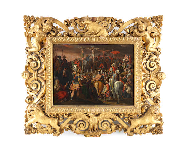 Circle of Antonio Tempesta (Florence 1555-1630 Rome) Calvary in a carved gilt wood frame