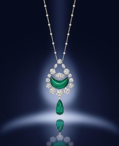 An emerald and diamond pendant/necklace, by Hennell,