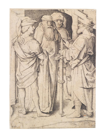 Master IAM of Zwolle (circa 1440-1504) The Calvary Engraving, circa 1480, the lower right fragment of the larger composition; together with 'Large Choir Stalls with Christ blessing the Virgin: the central plate' by Daniel Hopfer (B.19), circa 1518, a good impression; 'The First, and The Second Wise Virgin; The Second, and The Fourth Foolish Virgin' by The Monogrammist AG after M.Schongauer (B.18/19/24/26), circa 1480-90, largest sheet (Hopfer), 344 x 232mm (13 1/2 x 9in)(unframed)(6)