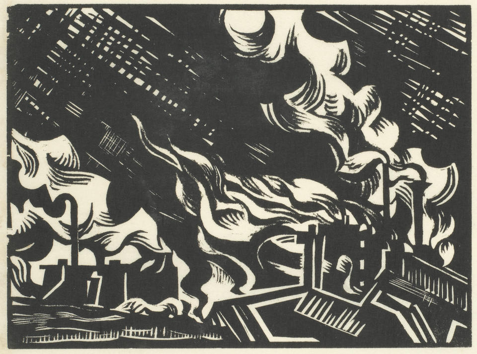 Edward Wadsworth (British, 1889-1949) Modern Woodcutters 4 The rare book, 1921, signed and numbered in black ink, comprising 14 woodcuts from the original blocks, this special edition is copy number 9 of only thirty, printed by Morland Press Ltd., London, published by Little Art Rooms, London, 258 x 192mm (10 x 7 3/4in)(overall)(Vol)