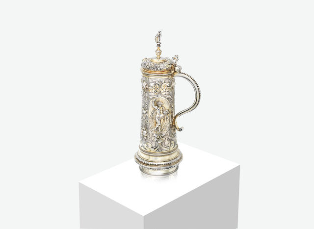 A large German parcel-gilt silver tankard by Melchior Bair, Augsburg late 16th / early 17th century