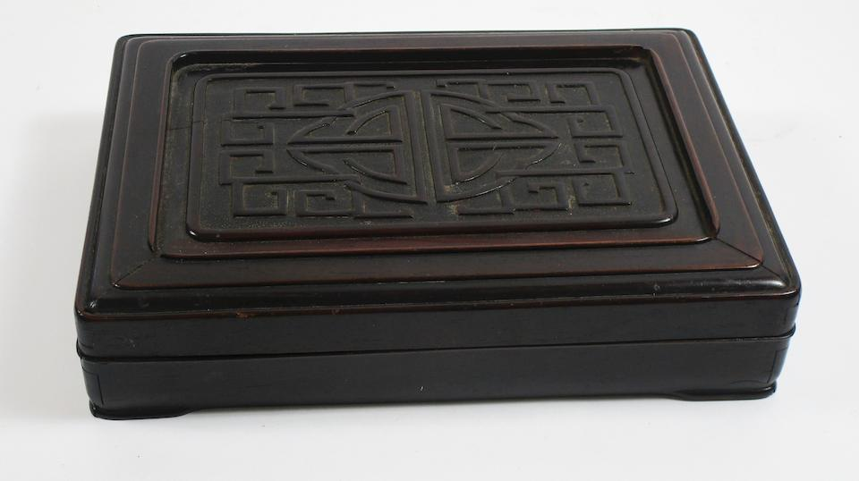 A huanghuali inkstone box and cover Qing Dynasty