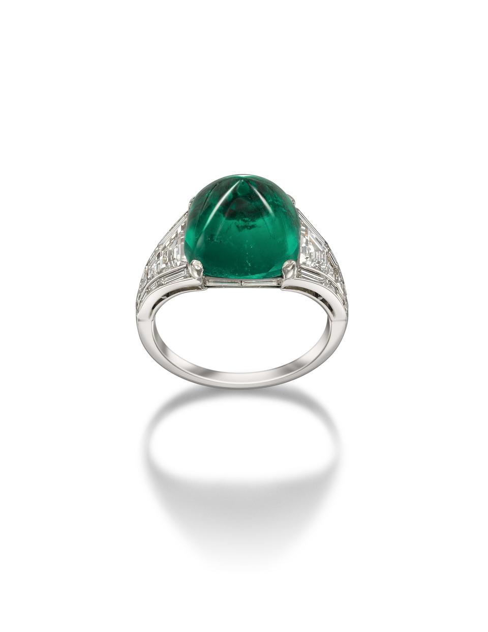 An Art Deco emerald and diamond dress ring, by Hennell,
