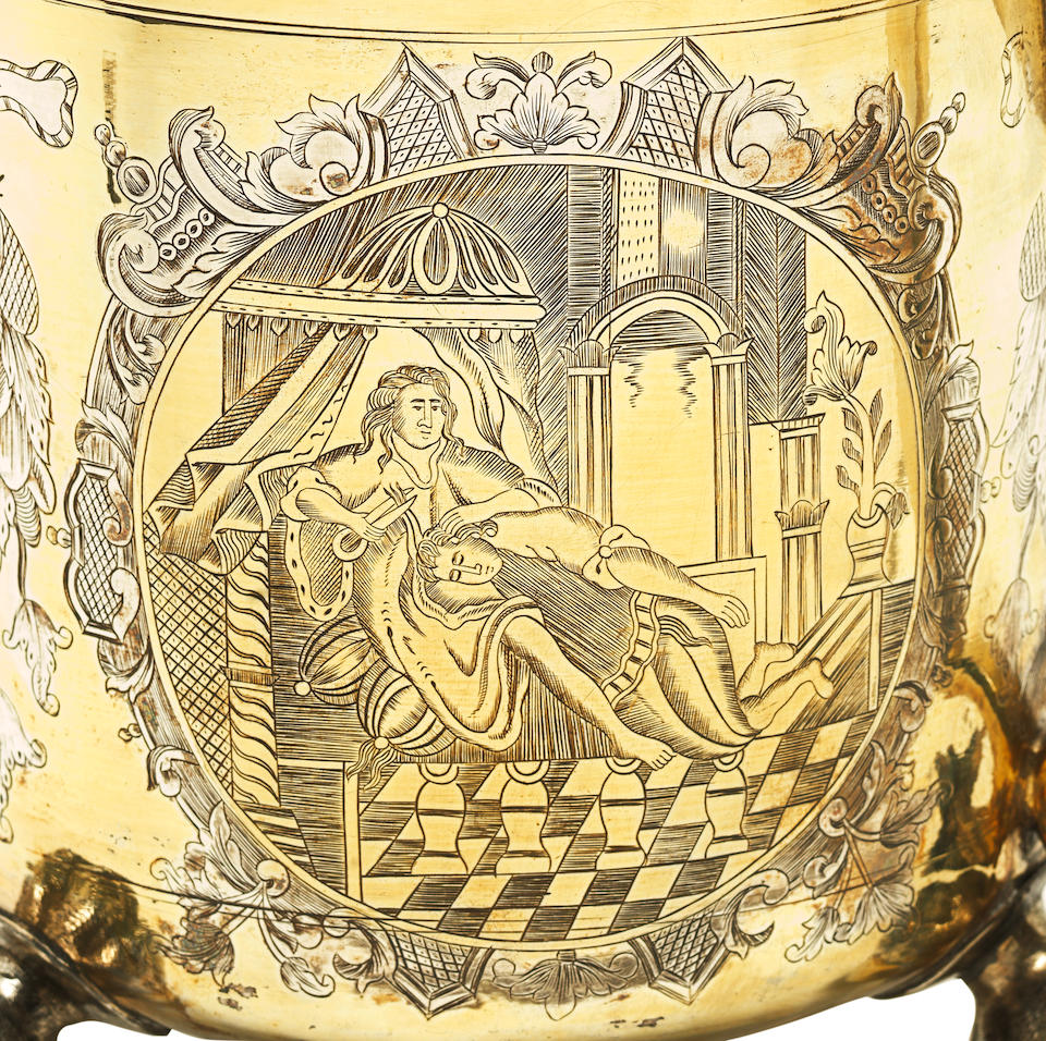 An 18th century Russian parcel-gilt silver tankard unidentified maker's mark 'ГГ', Moscow 1748