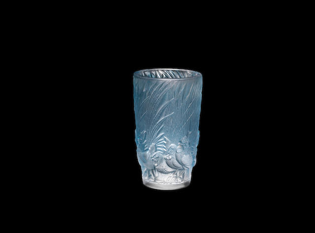 A René Lalique frosted and polished glass 'Coqs et plumes' vase ENGRAVED 'R LALIQUE FRANCE'; PRE 1945