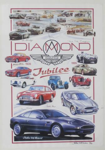 A signed 1995 Aston Martin Owners Club Diamond Jubilee limited edition poster,   ((4))