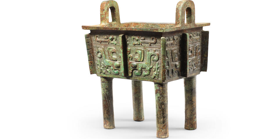 A very rare archaic bronze ritual food vessel, Fangding Late Shang/early Western Zhou Dynasty, inscribed Zhu Fu Ding