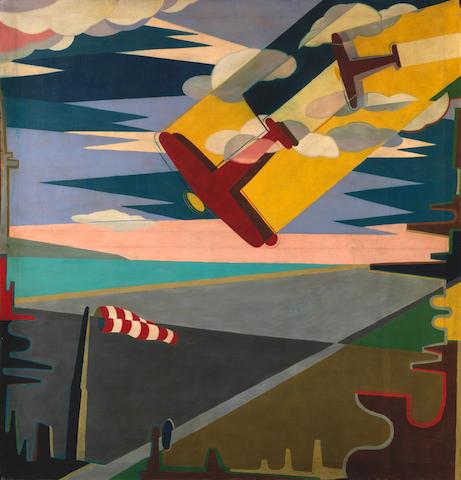 Giulio D'anna (1908-1978) Aerei in picchiata + aeroporto (Painted circa 1931 - 1932)