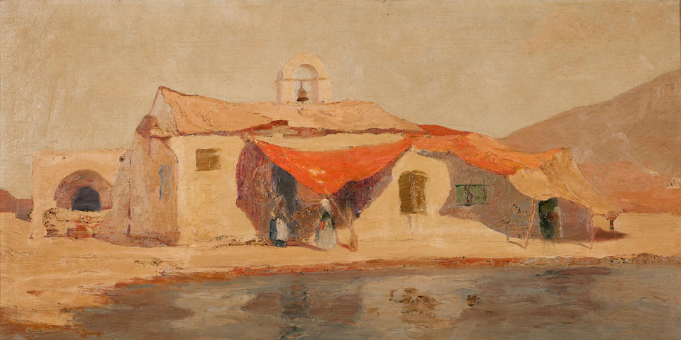 Michalis Economou (Greek, 1888-1933) Church with red shade 39 x 70 cm.