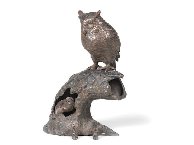A bronze okimono group of an owl and monkey  Meiji era (1868-1912), late 19th/early 20th century (3)