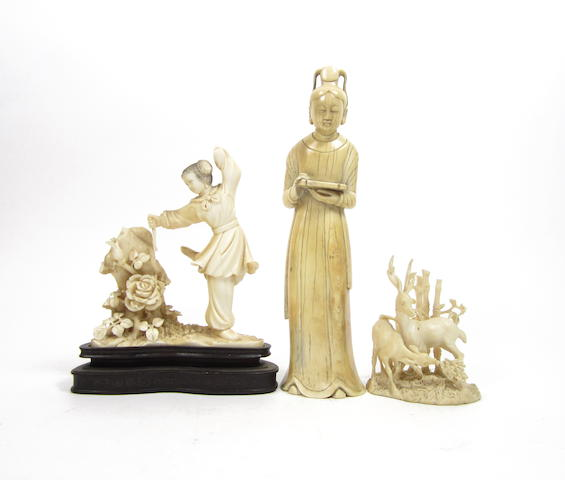 Three ivory carvings  19th and early 20th century (4)
