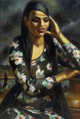 Mahmoud Said (Egypt, 1897-1964) Fille à l'imprimé (Girl in a Printed Dress)