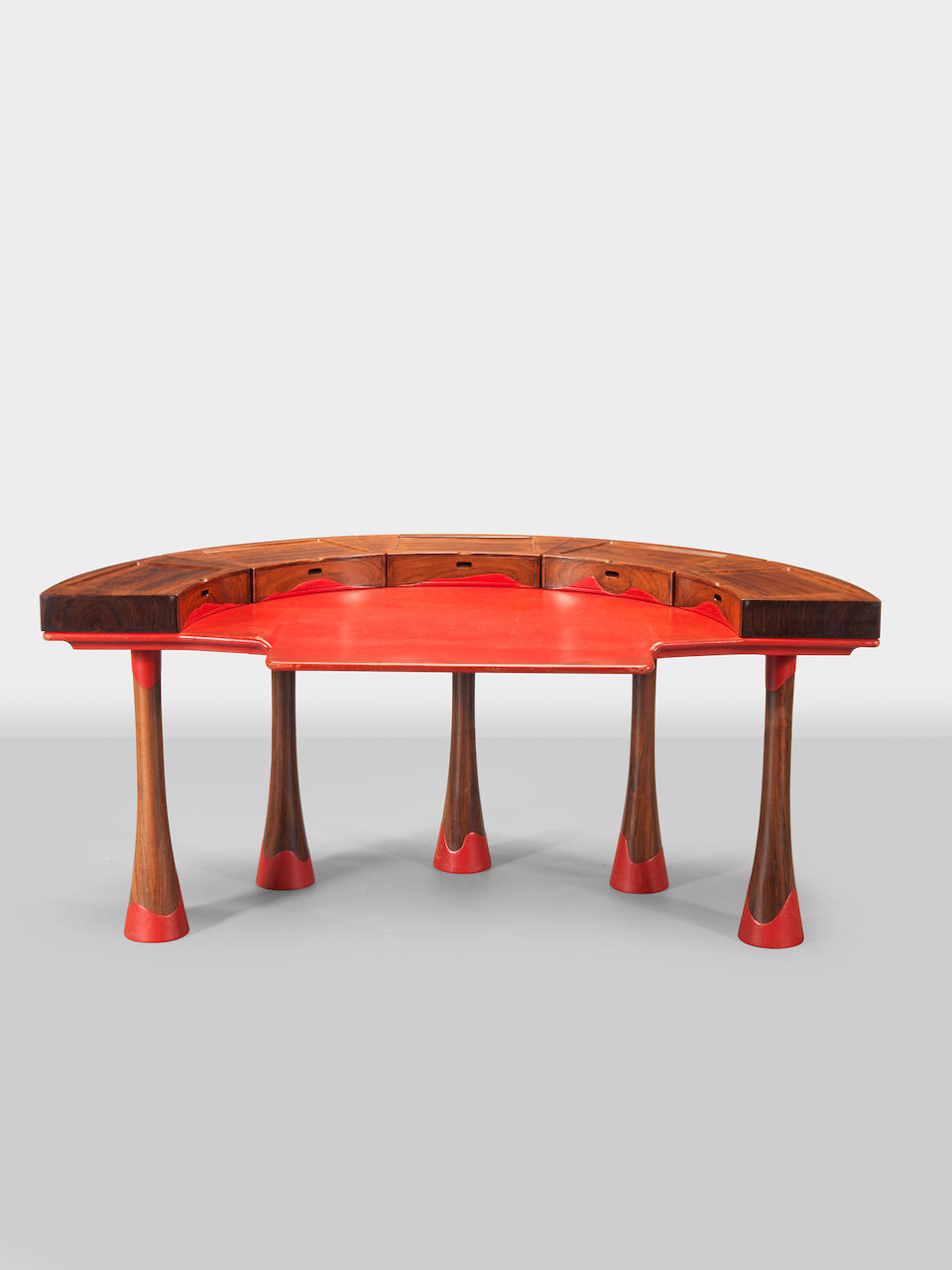John Makepeace (British b.1939), A Carlton house desk and chair, designed and executed 1979 Indian rosewood and red leather