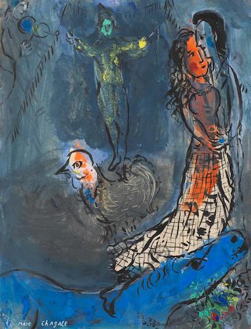 MARC CHAGALL (1887-1985) Les amoureux à l'âne bleu