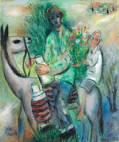 REUVEN RUBIN (1893-1974) The milkman 18 1/8 x 14 7/8 in (46.1 x 37.9 cm)