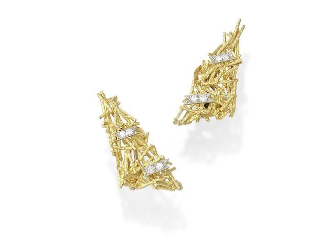 A pair of diamond-set earclips, by Grima,
