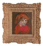 Joan Eardley RSA (British, 1921-1963) Pat Samson in a red jersey 18 x 16 cm. (7 1/16 x 6 5/16 in.)