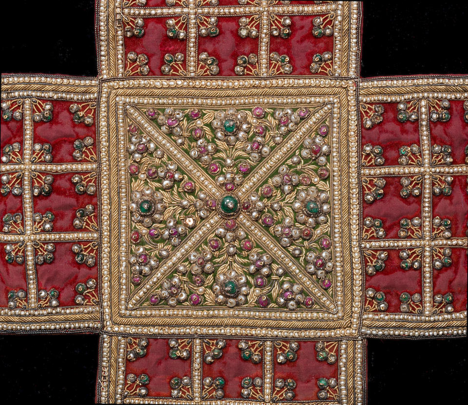 A pearl and gem-set velvet Chaupar board India, 19th Century