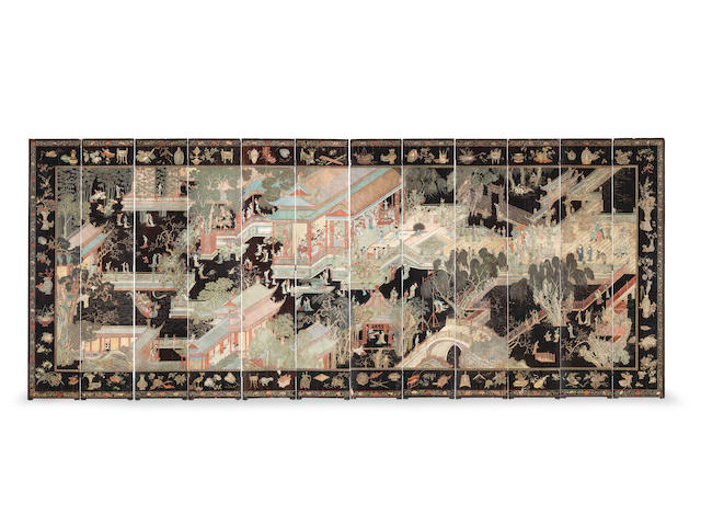 A magnificent and rare twelve-leaf double-sided 'coromandel' lacquer screen Kangxi (12)